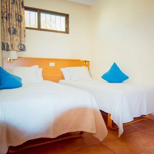 Die bequemen Betten lassen sich zusammen oder getrennt aufstellen
